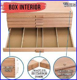 10 Drawer Wood Artist Supply Storage Box Organizer Craft Art Pastel Pencil Brush