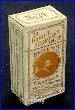 1903 Antique RARE! No. 24 RUBENS CRAYOLA Binney & Smith ARTISTS CRAYONS in Box