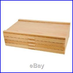 4 Drawer Wood Artist Supply Storage Box Organizer Craft Art Pastel Pencil Brush