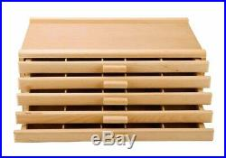 5 Drawer Wood Artist Supply Storage Box Organizer Craft Art Pastel Pencil Brush