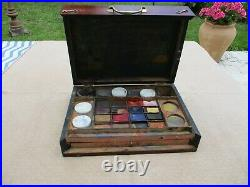 ANTIQUE FRENCH 19th WOODEN ARTIST'S PAINTING WATERCOLOR TRAVEL/ CAMPAIGN SET BOX