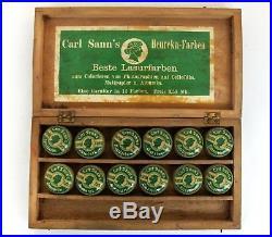 ANTIQUE GERMAN PHOTO PHOTOGRAPHY COLORATION CARL SANN'S PAINTS TINS w WOODEN BOX
