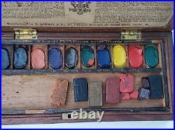 ANTIQUE artist paint box G. Rowney & Co. Reward Box from Dept. Of Science & Art