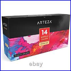 ARTEZA Acrylic Paint, Set 14 Colors/Pouches 120 ml/4.06 oz. With Storage Box, &