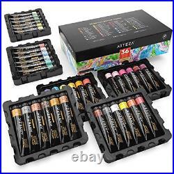 ARTEZA Metallic Acrylic Paint, Set of 36 Colors/Tubes 22 ml, 0.74 oz. With Box