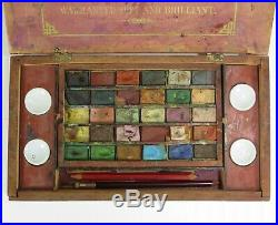 Antique 19th Century Watercolor Set of 30 Dried Pan Colors in Hinged Wooden Box