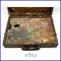 Antique ARTIST'S PAINTERS BOX Hardwood with Metal ORIGINAL PAINTED PALETTE Patina