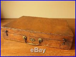 Antique Artist Box. Decorative Victorian Paint Box. Oil Paint Brushes Pallet