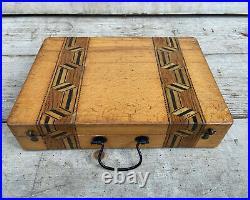 Antique Artist Box Water Colors Set Painters Paint Inlaid Case 19th C RARE Art