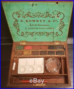 Antique Artists Watercolour Paint Box 19 th ALTER MALKASTEN G. ROWNEY FARBKASTEN