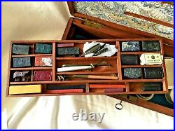 Antique CROWN STATIONARY OFFICE Watercolor ARTIST BOX with 12 PALETTES. C. 1820's