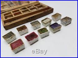 Antique Flemish Art Pyrography Kit 1890s Water Color Paints Wood Box Palette Lot