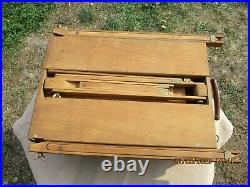 Antique French Artist's Paint Wood Box Set Internal Easel Pallet Tripod Travel