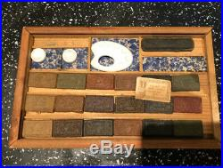 Antique Wooden Watercolour Unused Paint box. Good condition. Ceramic Trays