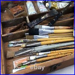 Art Crayon Co Vintage Artist's Paint Box Lot Wooden Case Pallet Paint Brushes