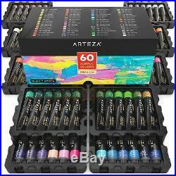 Arteza Acrylic Paint Painters Kit Set Of 60 Colors Non Toxic With Storage Box