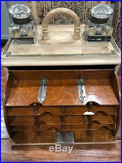 Artist Paint Box Desk 2 Ink Wells Pull Put Compartment 7.5X13 Inch Box