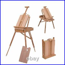 Artist Studio Easel Painting Table Foldable Case Box Drawer Portable with Palette