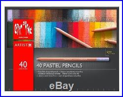 CARAN DACHE PASTEL PENCILS Box of 40 assorted colour fine dry pastel pencils
