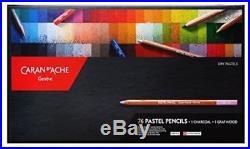 Caran D'Ache 76 Pastel Pencils + Charcoal + Graftwood Box Set