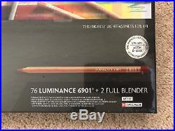 Caran D'ache Luminance Permanent Coloured Pencil 76 Colour Box Set + 2 Blenders
