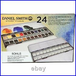 Daniel Smith 24 Watercolour Hand Poured Half Pan METAL BOX Set +BONUS Metal Box