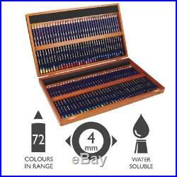 Derwent 2301844 Set of 72 Inktense Permanent Watercolour Pencils in Wooden Box