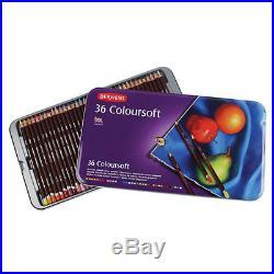 Art Supply Box Derwent Coloursoft Pencils Tin Box Set 24 36 72