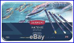 Derwent Inktense 72 Permanent Colouring Pencils Tin Box Water Colour Tin