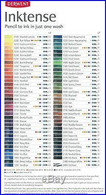 Derwent Inktense Professional Permanent Watercolour Pencils 72 Colour Wooden Box