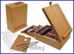 Easel Artist Set 150 Piece Drawing Painting Sketching Wooden Art Box Acrylic New