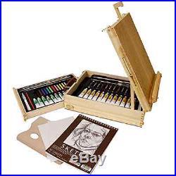 Easel Painting Set Art Wood Box Kit Artist Oil Paint Brushes Palette Case Gift