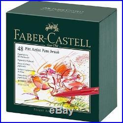 Faber Castell 167148 India Ink 48 PITT Artist Pens Brush Studio Box Genuine NEW