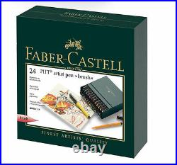 Faber Castell Pitt Artist Brush Tip Pens 24 Colour Box Set Colored Pencil 167147