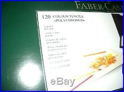 Farber Castel Polychromos Colored Pencils 120 Color Set Wooden Box 110013. MINT
