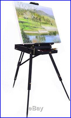 French Box Easels Paint Easel With Drawer Wooden Pallete Beech Wood Brass Steel