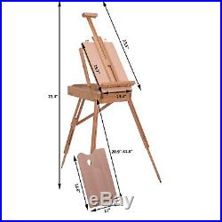 French Easel Beech Wooden Sketch Box Portable Tripod Art Painter withPallet