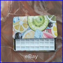 Fruit Empty watercolor palette paint tin box with 40 half pans