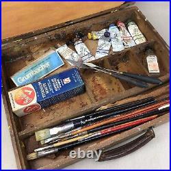 Grumbacher Vintage Artist's Paintbrush Box Lot Wooden Box Case Pallet Brushes