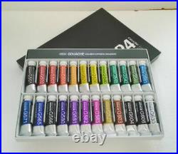 HOLBEIN ARTISTS' GOUACHE G715 15ml Opaque Watercolor 24 Colors Set withPaper Box