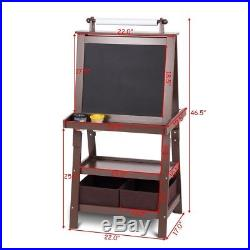 Kids Standing Art Easel brown Whiteboard With 2 Storage Boxes crafts play new