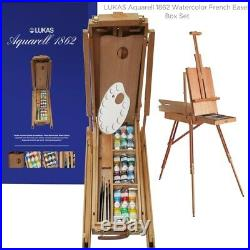 LUKAS Aquarell 1862 Watercolor French Easel Box Set 18 37ml Tubes with Palette