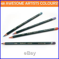 NEW IN WOODEN CASE BOX DERWENT 48x Artists Colouring Pencils Range R0700643
