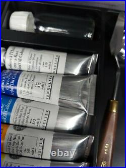 NEW SENNELIER OIL PAINT ARTIST BOX SET 14 34ML OIL COLOR SET With BRUSHES AND MORE