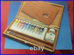 New Winsor & Newton Artists' 12 21ml Oil Colour Paint 2 brushes Wood Box Set