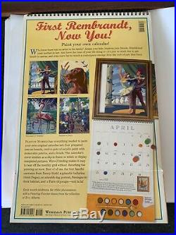 ORIGINAL vintage PAINT BY NUMBER Kit (4) canvasesunusedin box FLAMINGODOG