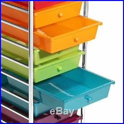 Organizer Boxes Plastic Makeup Art Supplies Craft Rolling Cart 10 Drawers Wheels