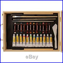 Portable Easel Acrylic Artist Oil Paint Art Set 62 Piece Wood Box Kit Gift New