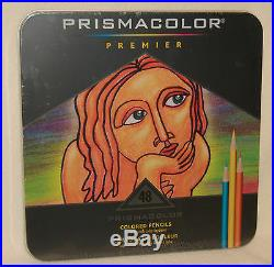 Prismacolor Premier 48 Colored Soft Core Pencils in Tin Box Artist Quality