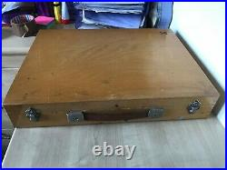 REDUCED Vintage German 1970s Wood Artists Paint Box + Brushes + Paints Display